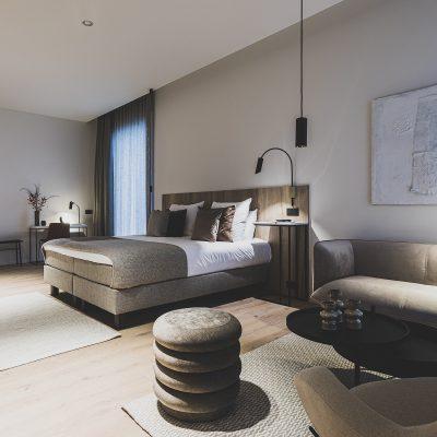 Zen hotelkamer met veel ruimte en rustgevende kleuren Waer Waeters Groot-Bijaarden